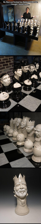 Handmade Chess Set #faces #sculptures