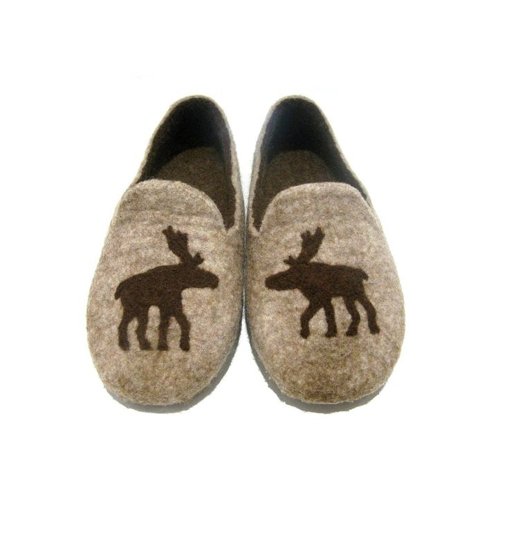 Felted slippers - brown slippers - wool indoor slippers - natural slippers with moose by FeltingbyEglut on Etsy https://www.etsy.com/listing/82606057/felted-slippers-brown-slippers-wool