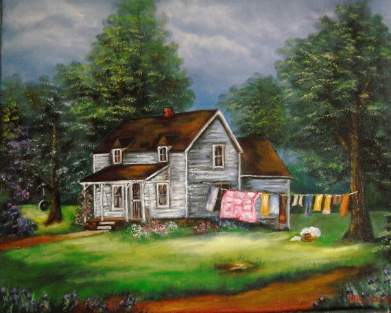 Laundry Day 16x20 oil painting unframed by kellyhainespaintings