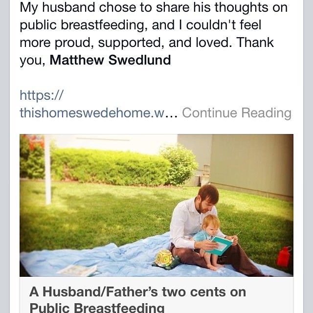 My husband shared his take on public breastfeeding. Check it out at thishomeswedehome.wordpress.com