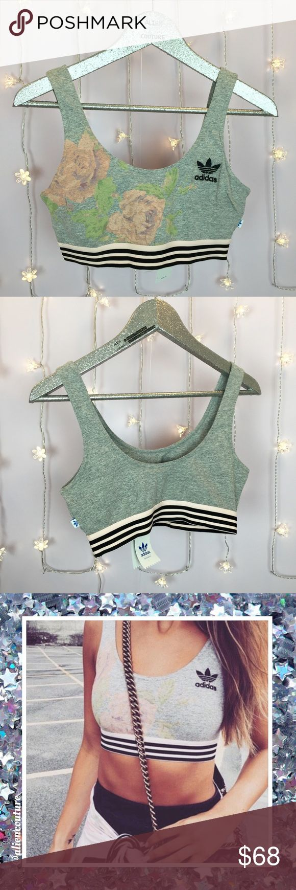 Adidas Pastel Rose Sports Bra Brand new with tags Adidas pastel rose floral bra. Super soft and comfy. Pull on style. Embroidered trefoil logo. Sold out hard to find style, especially in this size NWT. I currently have a size L and a size S available. As seen on Kylie Jenner (check out my Adidas lookbook listing for photos)! NO TRADES. I also have the matching leggings listed! ✨Also listed in an outfit bundle, prices for separates are FRIM and higher, as I'd prefer to sell as a set.✨ Adidas…