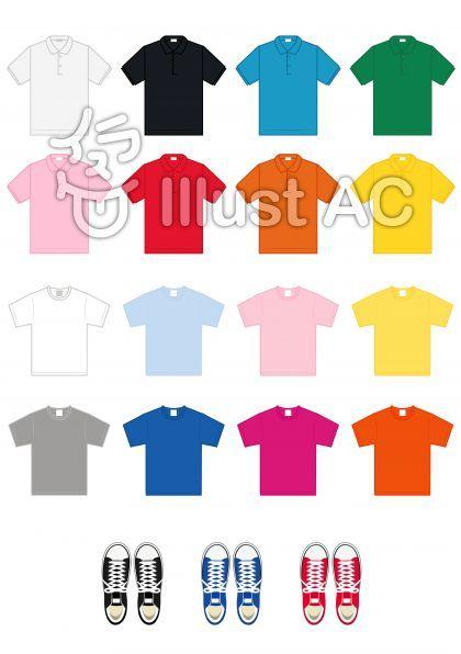 オリジナルのフリー素材tシャツポロシャツイラスト
