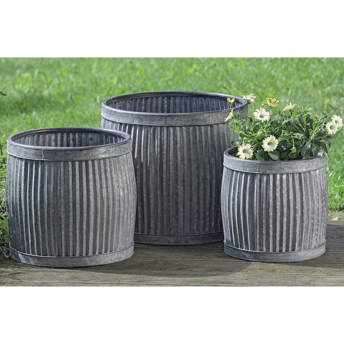 Armanno 3 Piece Galvanized Metal Pot Planter Set Planter Pots Metal Planters Planters