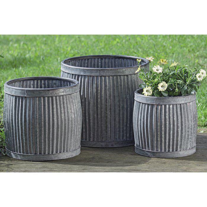 Armanno 3 Piece Galvanized Metal Pot Planter Set Galvanized Planters Metal Planters Planter Pots