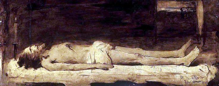 Munkácsy Mihály (1844-1900) - A fekvő Krisztus  (A művész saját magáról mintázta meg Krisztus alakját a képen)