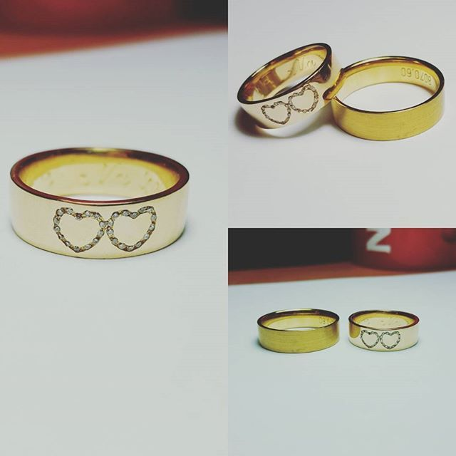 Yellow gold custom-made wedding rings with diamond hearts. #goldsmith #jewelry #custommade #weddingring #diamonds #eyecatching #workneverends #wedding #sayyes #gcdesign #exlusive #luxury #timeless #classic #fashionjewelry #accessories #gold #hearts #bling #workshop #lovework #somethingelse #whatdoyouyhink