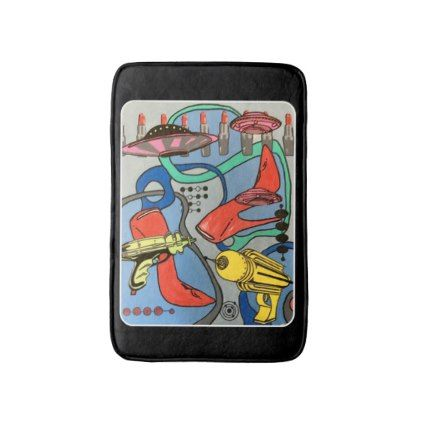 #'MidCentury Mod Glamour Invasion' painting on a Bath Mat - #Bathroom #Accessories #home #living