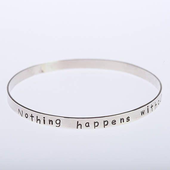 Motivational Bangle Bracelet, Sterling Silver Bracelet, Handstamped Bangle, Inspirational Bangle, Silver Bangle, Inspiring, Positive Message