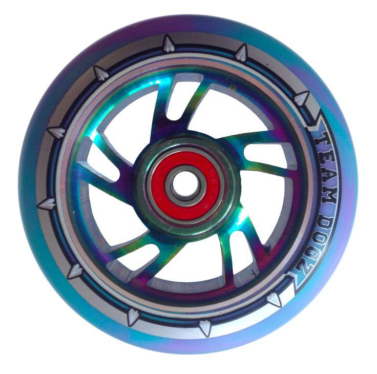 100mm Team Dogz Petrol Rainbow Neo Chrome Scooter Wheels