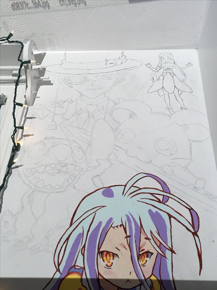 Got 4 characters outlined in one afternoon. Kaitou and Yui are rough because they are right below the ceiling and I can barely reach them. I'll need a ladder to paint them.