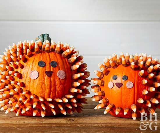 Create a prickly friend that is almost as cute as a real hedgehog using just felt, candy, glue and a faux pumpkin!