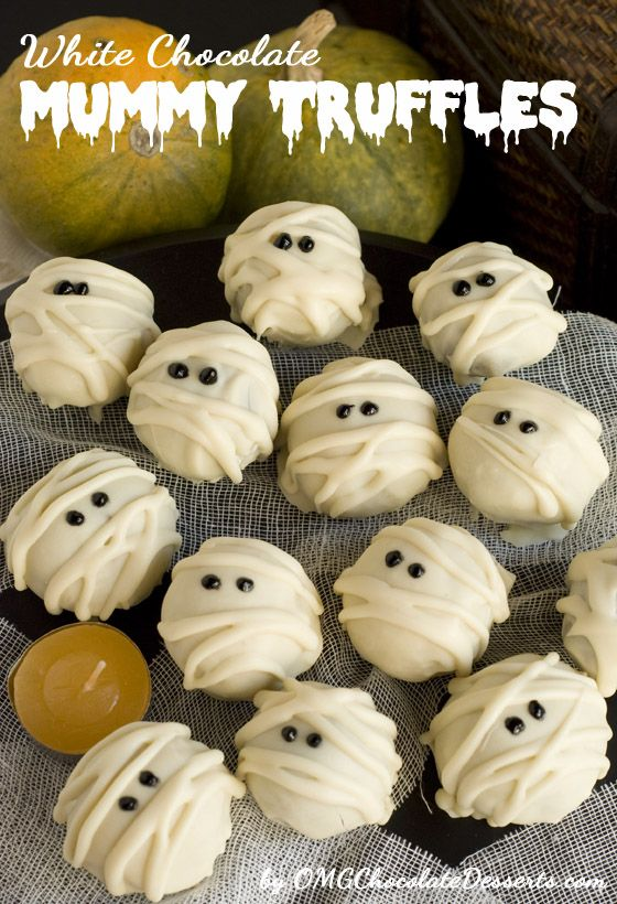 White Chocolate Mummy Truffles - OMG Chocolate Desserts -could probably also do this with white chocolate covered Oreos.