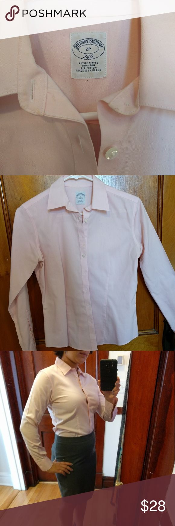 Like New Brooks Brothers Non-Iron Dress Shirt Pastel pink Brooks Brothers Non-Iron Tailored-Fit Dress Shirt in 2P. This is a petite sized shirt and true to size. Barely worn. Like new condition. Brooks Brothers Tops Button Down Shirts
