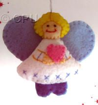 DoCrafts Mini Soft Christmas Kits - Angel with Blue Wings.  Perfect for making your own Xmas Tree Decorations. That heart is so lovely.