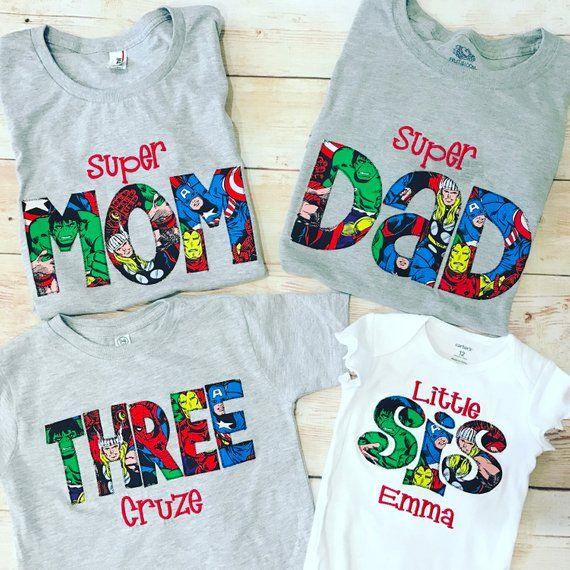 SUPERHERO shirt Super MOM Super DAD vaderdag cadeau verjaardag Shirt Super Dad Shirt Squad doelen aangepaste Shirts Baby cadeau