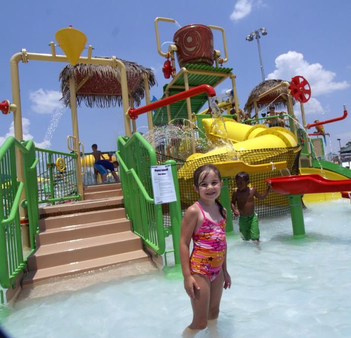 SPAR Waterpark kids area slide - 3 Cool Pools in Lake Charles, La. | Read more at www.visitlakecharles.org