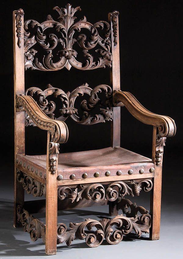 Italian Rococo Revival Throne Chair. Fine FurnitureWood ...