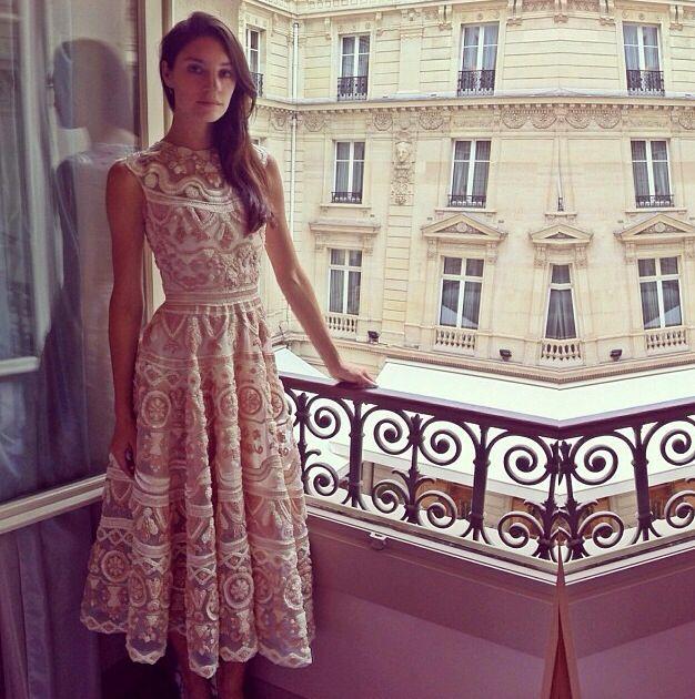 Christian Siriano Spring 2014 - Raffia embroidered dress