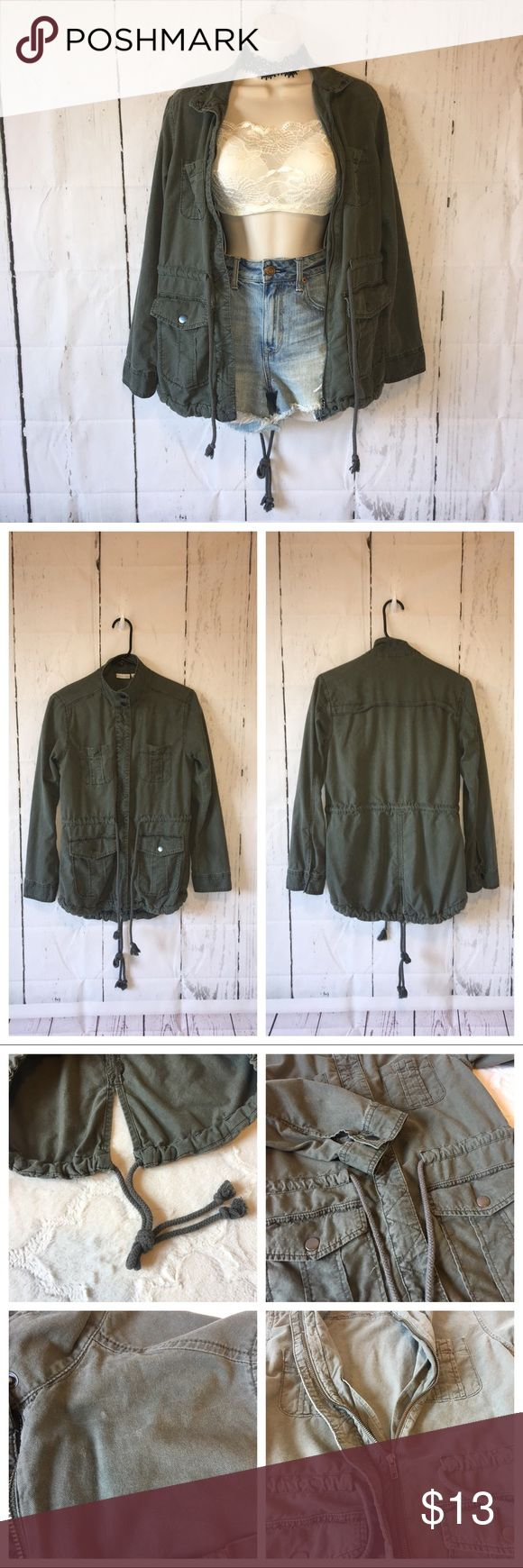 "BP green military jacket XS Green. 4 front pockets. No hood. Zip up. Tie @ waist & back hem. Lightweight. Distressed spots, see pic. Gently used.  Top of shoulder to hem: about 26 1/2"" Pit to pit: about 18"" bp Jackets & Coats Utility Jackets"