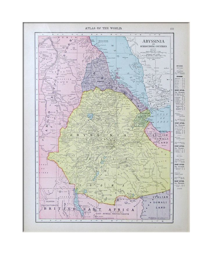 "An original vintage map of Abyssinia in NE Africa in 1933.The ""historical"" Abyssinia is located in present day North Ethiopia and Southern Eritrea-Hamasien, Akaleguzai & Sera'e."
