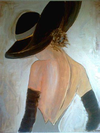 """Peinture acrylique sur toile,femme romantique """"Camille"""" Fond beige, coloris marron, chair, gris; Toile format 45x55cm et 1.5 cm de largeur de châssis .Toile tendue sur châssis b - 7033419"""
