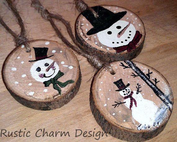 Frosty Snowman Ornaments by RusticCharmDesign on Etsy