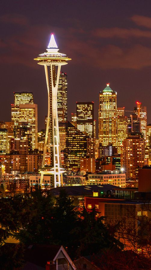 The Space Needle at Christmastime viewed from Lower Queen Anne in Seattle, Washington • photo: yinlaihuff on Flickr
