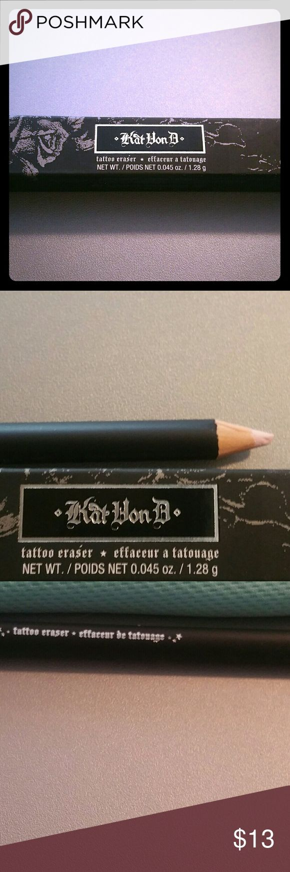 Kat Von D tattoo eraser A light pink pencil that gives you the ability to conceal that tatoo just for a day or few hours. It's the ultimate, customizable coverage, in four simple steps: prep, conceal, perfect, and set. The tip has a little smudge on it from when I took it out to take a picture because of the way it is packaged. Minor though. Kat Von D Makeup Concealer