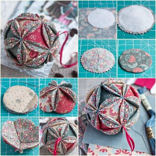 How to make russian fabric vintage ball ornament this is - Ornament tapete weiay ...