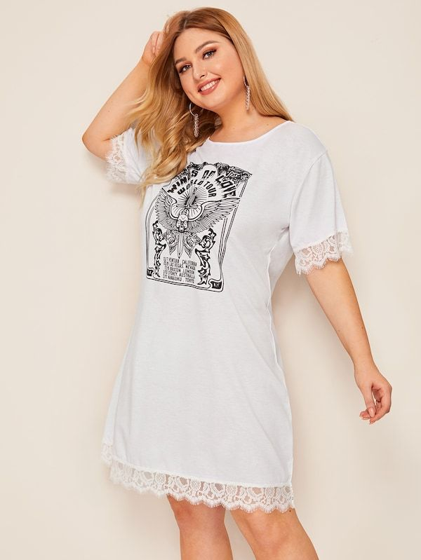 43881e5ea6 Plus Contrast Eyelash Lace Letter Print Dress |Neckline: Round Neck Sleeve  Length: Short Sleeve Dresses Length: Midi Silhouette: Shift Pattern Type:  Letter ...