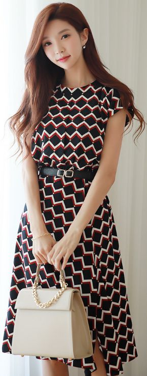 StyleOnme_Geometric Print Front Slit Dress #patterned #elegant #koreanfashion #kstyle #kfashion #summertrend #dress