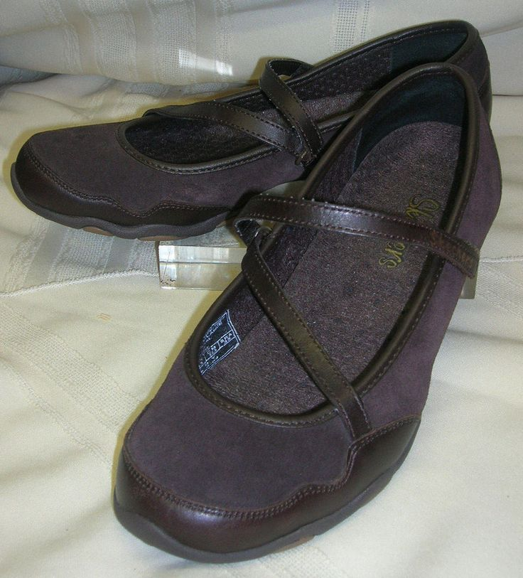 Skechers Ladies Shoes Velcro Straps Size 6 1/2 Brown Casual Flats Skechers Brand #SKECHERS #MaryJanes #Casual