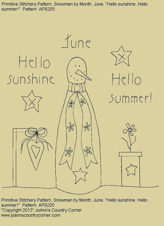"Primitive Stitchery E-Pattern Rolling Pin Snowman by Month ""June"", Hello Sunshine Hello Summer."" on Etsy, $2.00"