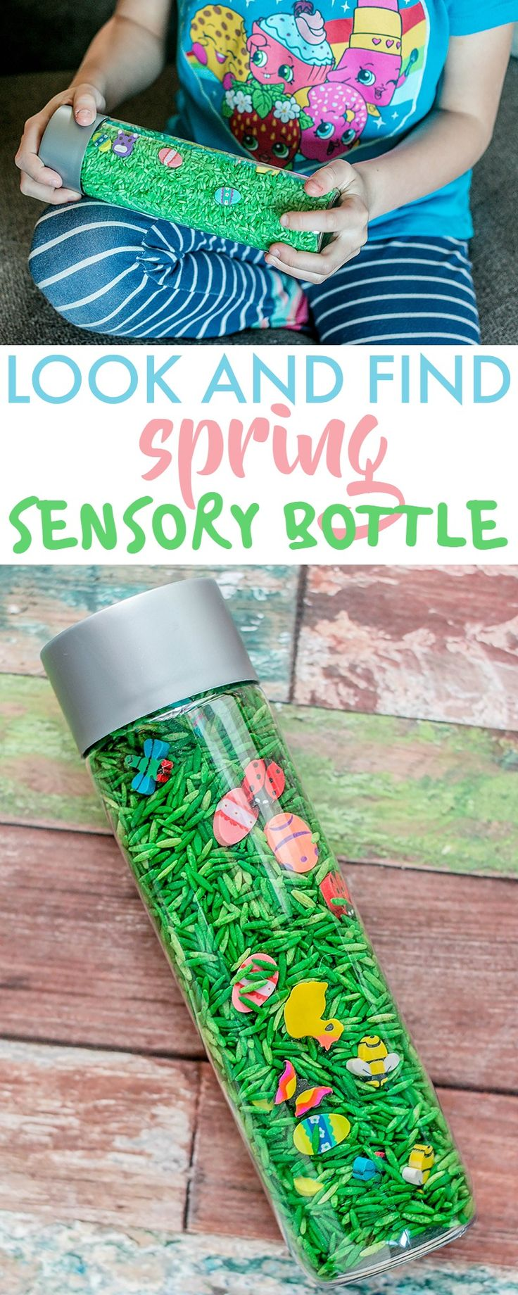 This Look and Find Spring Sensory Bottle is fun & easy to make and creates a fun, sensory, tactile experience. Can also be designed as a game for all ages. craft inspired by #TumbleLeaf Spring-a-ling Surprise Amazon #ad https://www.730sagestreet.com/spring-sensory-bottle/
