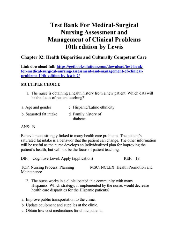 Test Bank For Medical Surgical Nursing Assessment And Management