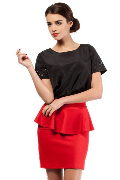 The red mini skirt with a decorative material