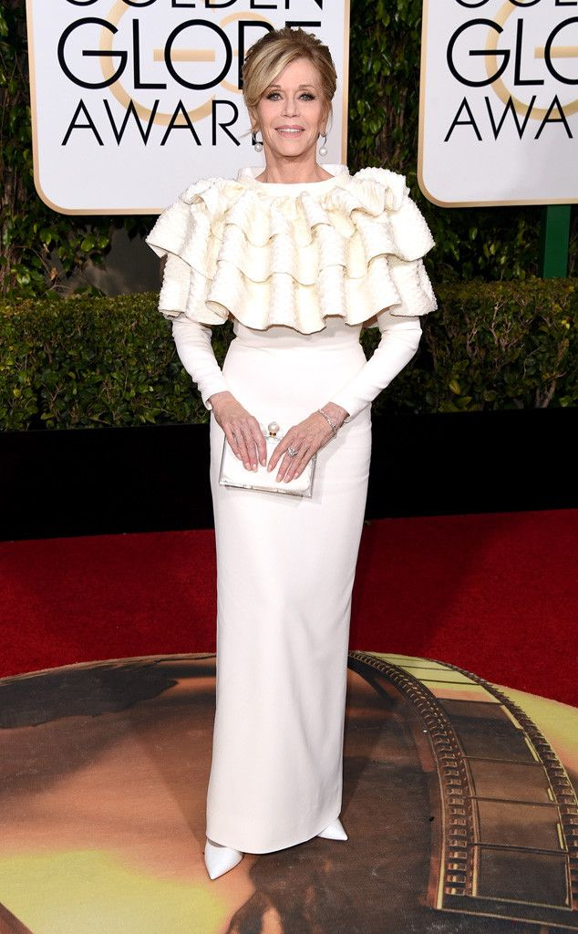 Jane Fonda from Worst Dressed at 2016 Golden Globes  The top of the Youth actress' dress reminds us of a cupcake or a clam shell...we can't decide.