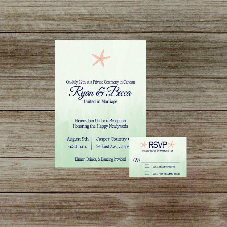 Ombre Wedding Reception Invitation nautical by GoldenGirlDesignz