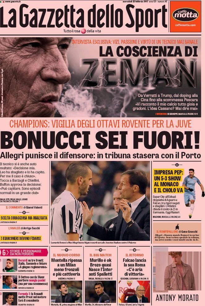 Prima Pagina La Gazzetta dello Sport 22/02/2017