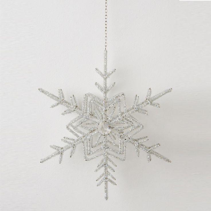 Snowflake Hanger Beaded Double Star Cen - Dare Gallery