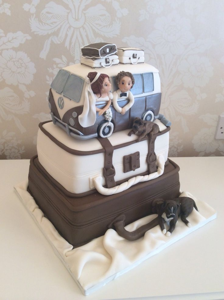 Novelty suitcase and Volkswagen themed wedding cake