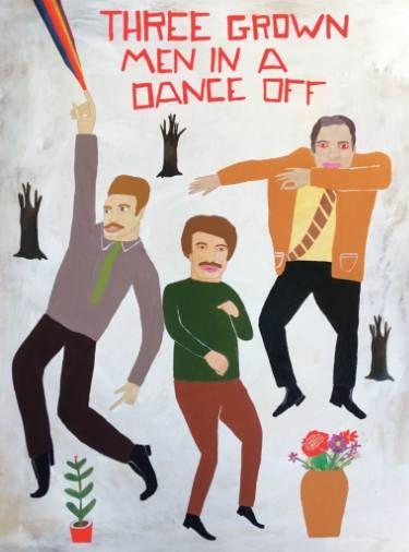 "Saatchi Art Artist Kelly Puissegur; Painting, ""Three Grown Men in a Dance Off"" #art"