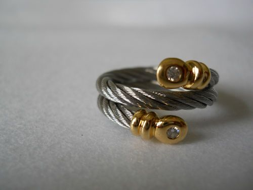 Philippe Charriol Diamond Stainless Steel Cable Ring w 18K Gold Size 6 5   eBay