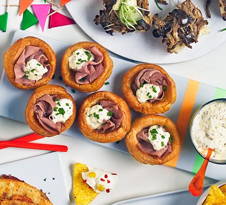 A cheat's canape that uses pastrami and mini Yorkshire puddings topped with fiery horseradish and mustard