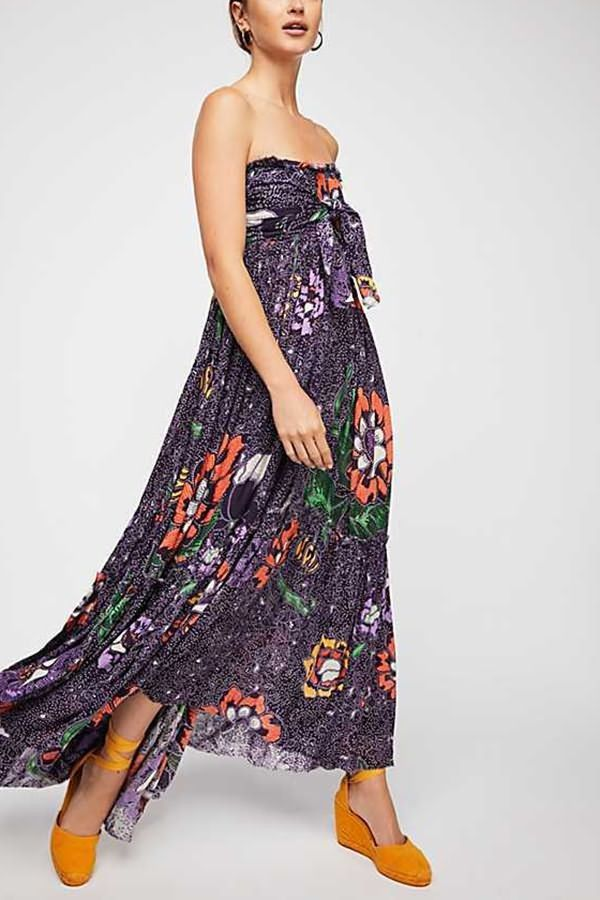 f43b8dce2 Dark-blue Floral Print Knotted Strapless Sexy Maxi Beach Dress #058433 @  Casual Dresses,Women Casual Dresses,Cheap Casual Dresses,Cute Casual Dresses,Casual  ...