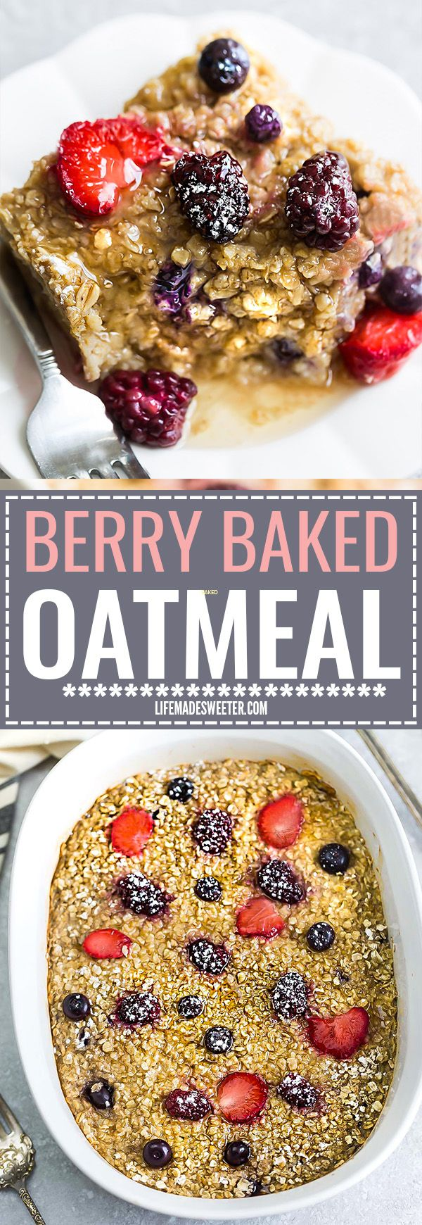 Berry Baked Oatmeal makes the perfect easy make-ahead healthy breakfast. Best of all, this recipe is made with no refined sugar, gluten free and dairy free and just 10 minutes of prep time using ONE bowl!