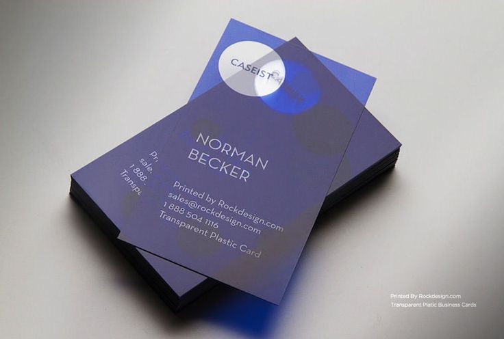 High End Translucent Plastic Business Cards in Blue