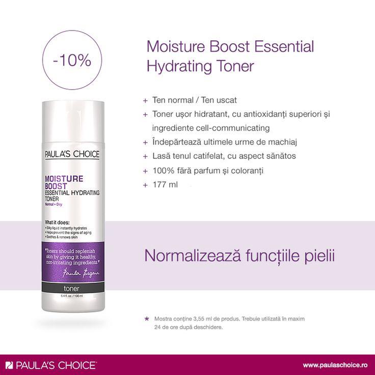 Moisture Boost Essential Hydrating Toner are o compoziţie îmbunătățită cu antioxidanți superiori și ingrediente cell-communicating, care optimizează funcțiile pielii, lăsând tenul mai sănătos și catifelat. Asigură un aport de hidratare pielii, ajutând la calmarea și repararea acesteia.  Profită de reducerea lunii la tonere și alătură-l celorlalte produse de îngrijire folosite: http://www.paulaschoice.ro/skin-care/toners/moisture-boost-hydrating-toner.html