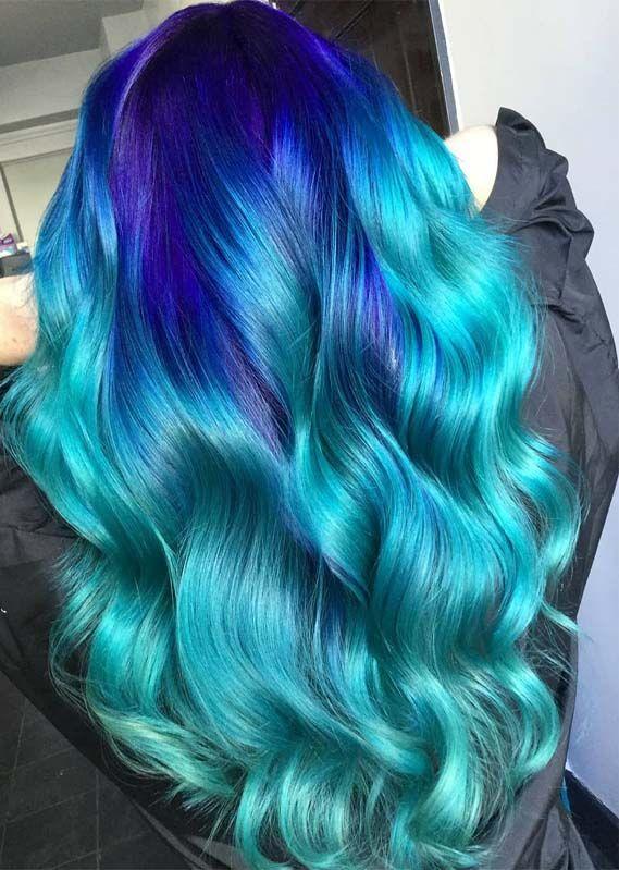 10 Coolest Vivid Blue Aquamarine Hair Colors For 2019 Hair