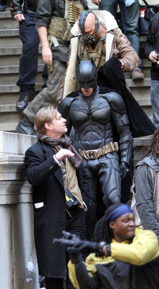 Christopher Nolan on set of The Dark Knight Rises with Batman and Bane